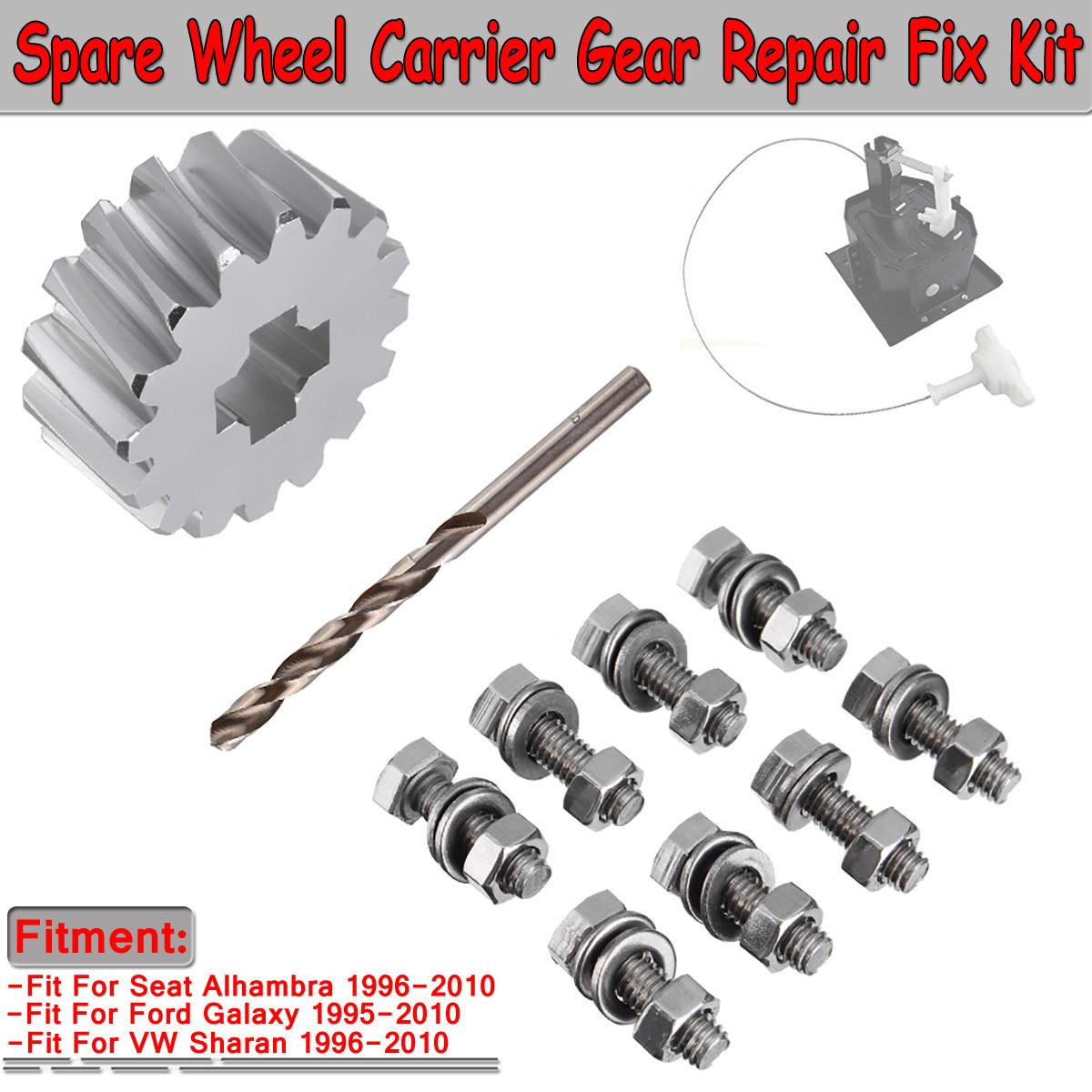 CNC Aluminium Universal Car Spare Wheel Carrier Gear Repair For Fix Kit For Ford For Galaxy For Seat Alhambra For VW Sharan