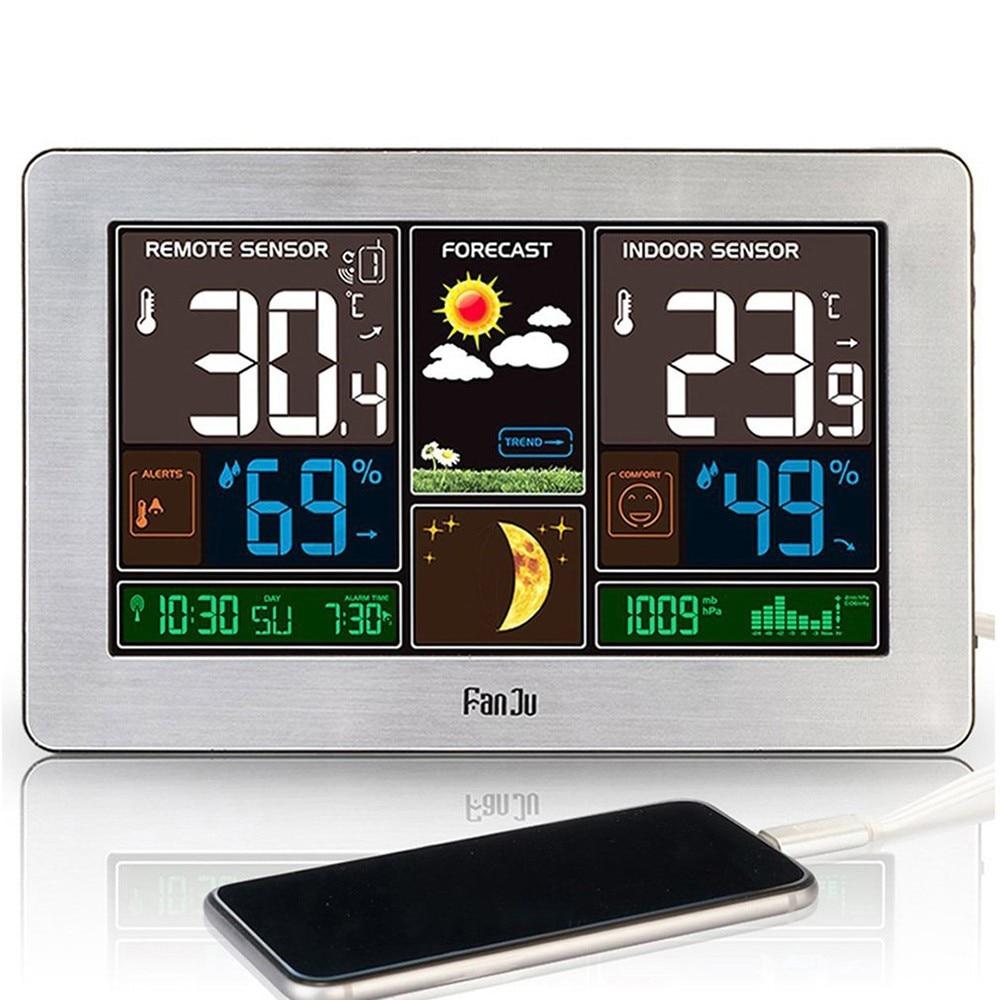 Цветной экран Погода часы температура и влажность метр светодио дный экран Будильник Usb зарядка часы календарь Moon Phase