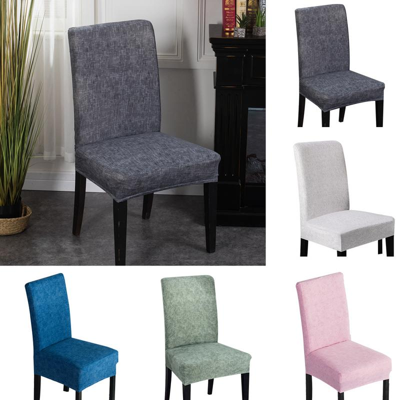 Banquet Chair Solid Color Dining Room Chair Cover Spandex Stretch Polyester Seat Cover Geometric Chair Protective Case