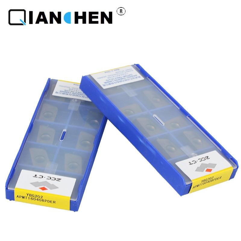 Original ZCCCT 10pcs  High Quality High Performance High Strength CNC Industry APMT160408PDER YBG202 Carbide Inserts