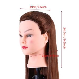 Image 3 - 24Inch Synthetic Training Mannequin Head Hairdressing Dolls Head Cosmetology Braiding Dummy Mannequin Heads Table Clamp Stand
