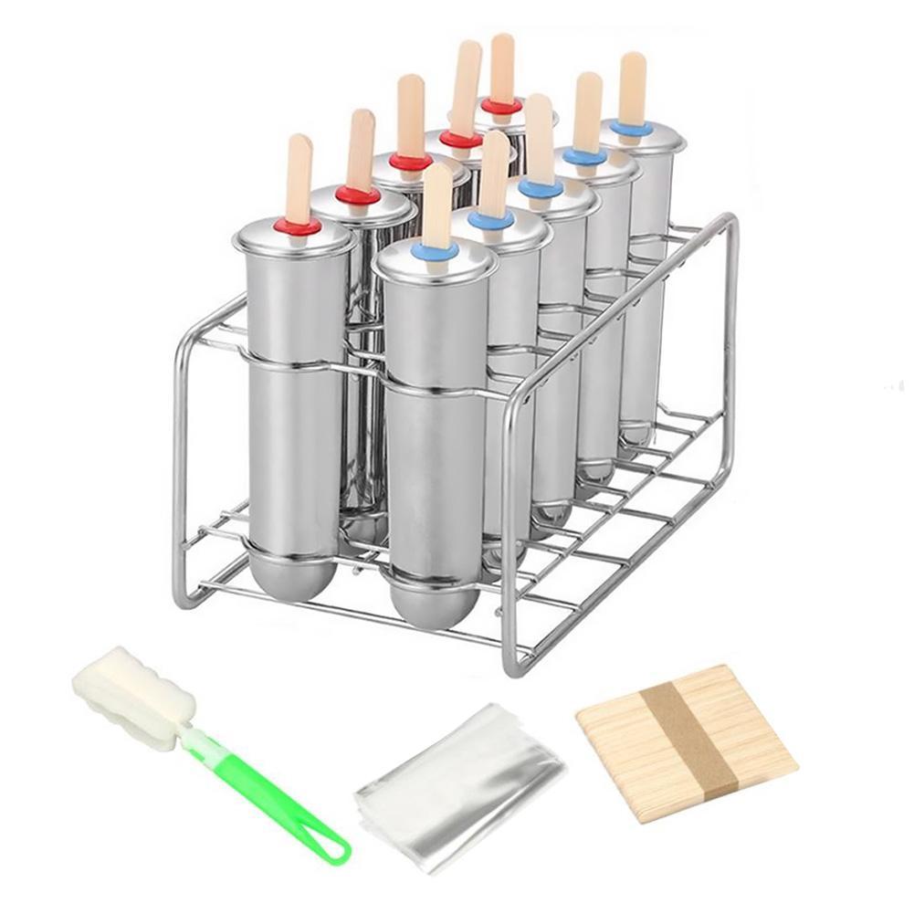 Ice Cream Mold Pops Stainless Steel DIY Cube Tray Cake Maker Bar Pudding Tube Freezer Safe