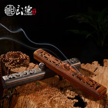 Lang De ceramic incense line horizontal interior hand carved hollow sandalwood box.