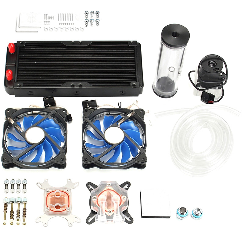 Diy Pc Water Cooling Kit With 240Mm Water Row + Cpu Water Cooling System Kit Computers Radiator Pump Reservoir Heat SinkDiy Pc Water Cooling Kit With 240Mm Water Row + Cpu Water Cooling System Kit Computers Radiator Pump Reservoir Heat Sink