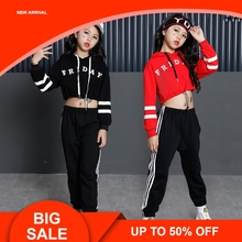 цена на Girls Street Dance Clothing Kids Black Red Letter Crop Hoodie Top With Long Sleeves Pant 2pcs Teenage Clothes Set