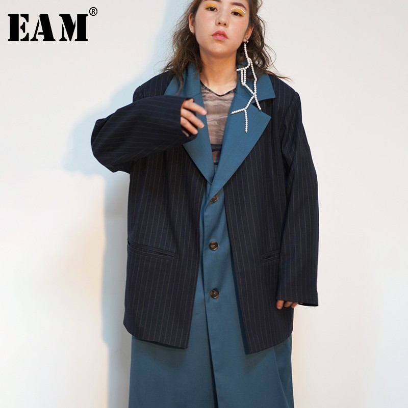 [EAM] 2019 New Spring Lapel Long Sleeve Blue Striped Stitch Loose Long Irregular Bandage Windbreaker Women   Trench   Fashion JO179