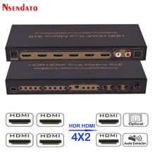 HDR HDMI 4×2 матричный коммутатор 2,0 4 К 60 Гц 4 в 2 из HDMI 2,0 Splitter Switcher аудио эксрактор ARC ИК Управление SPDIF для PS3 PS4 ТВ