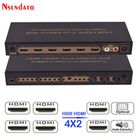 HDR HDMI 4x2 Matrix Switch 4K 60HZ 4 In 2 Out HDMI Splitter Switcher Audio Extractor ARC IR Control SPDIF For PS3 PS4 TV DVD