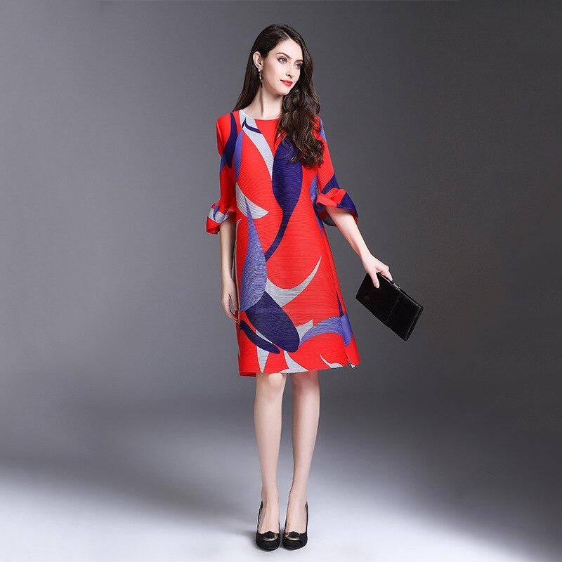 Haute Moitié Femmes Imprimée Colour red Robe E004 2019 De Vêtements pink Nouvelle Manches Pour Black Femme Les Plissée Mode Flare Qualité q6wxPzXnxA