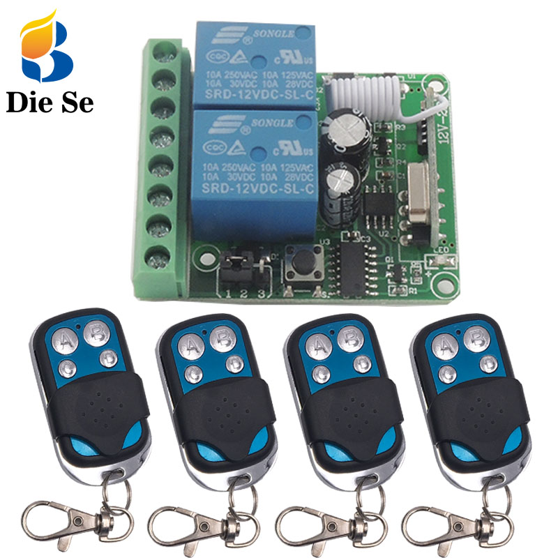 433 MHz Wireless Remote Control Switch DC 12V 10A 2CH rf Relay Receiver and Transmitter for remote switch garage motor control