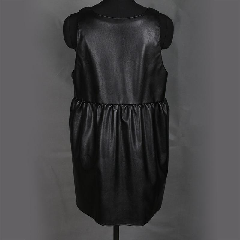 Nerazzurri overalls dress for women 2019 black pleated pu leather suspender dress plus size dresses for women 4xl 5xl 6xl 7xl in Dresses from Women 39 s Clothing
