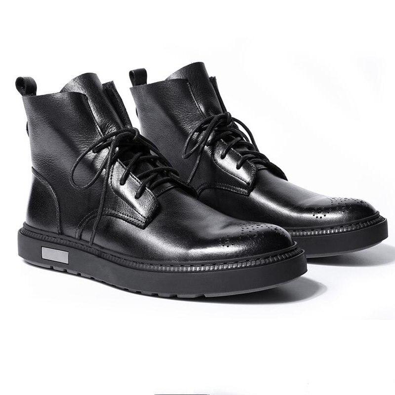 Genuíno Botas Homem Casuais Do Presente Hight Moda Acima Ornamentação Sapatos Black Montaria Final Retro De Homens Ata Couro Na brown Inverno rqr1AxY
