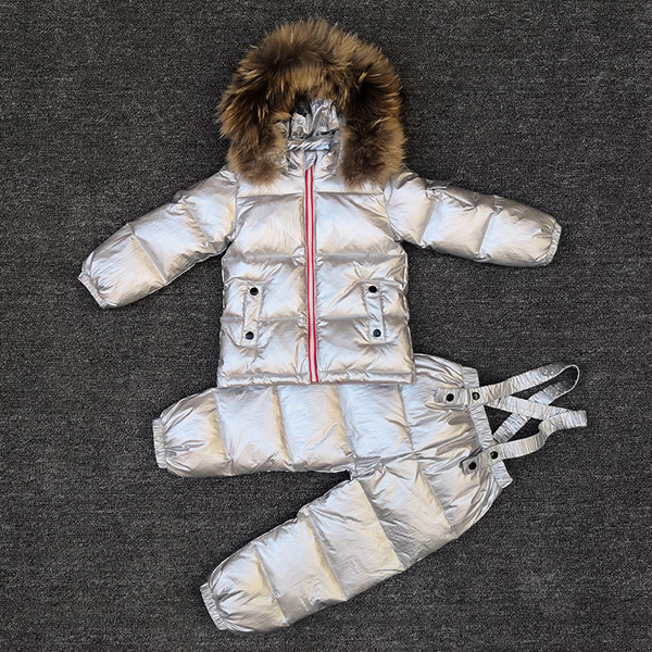 Childrens Sets New winter baby down jacket suit boys and girls wearing raccoon fur ski suitChildrens Sets New winter baby down jacket suit boys and girls wearing raccoon fur ski suit