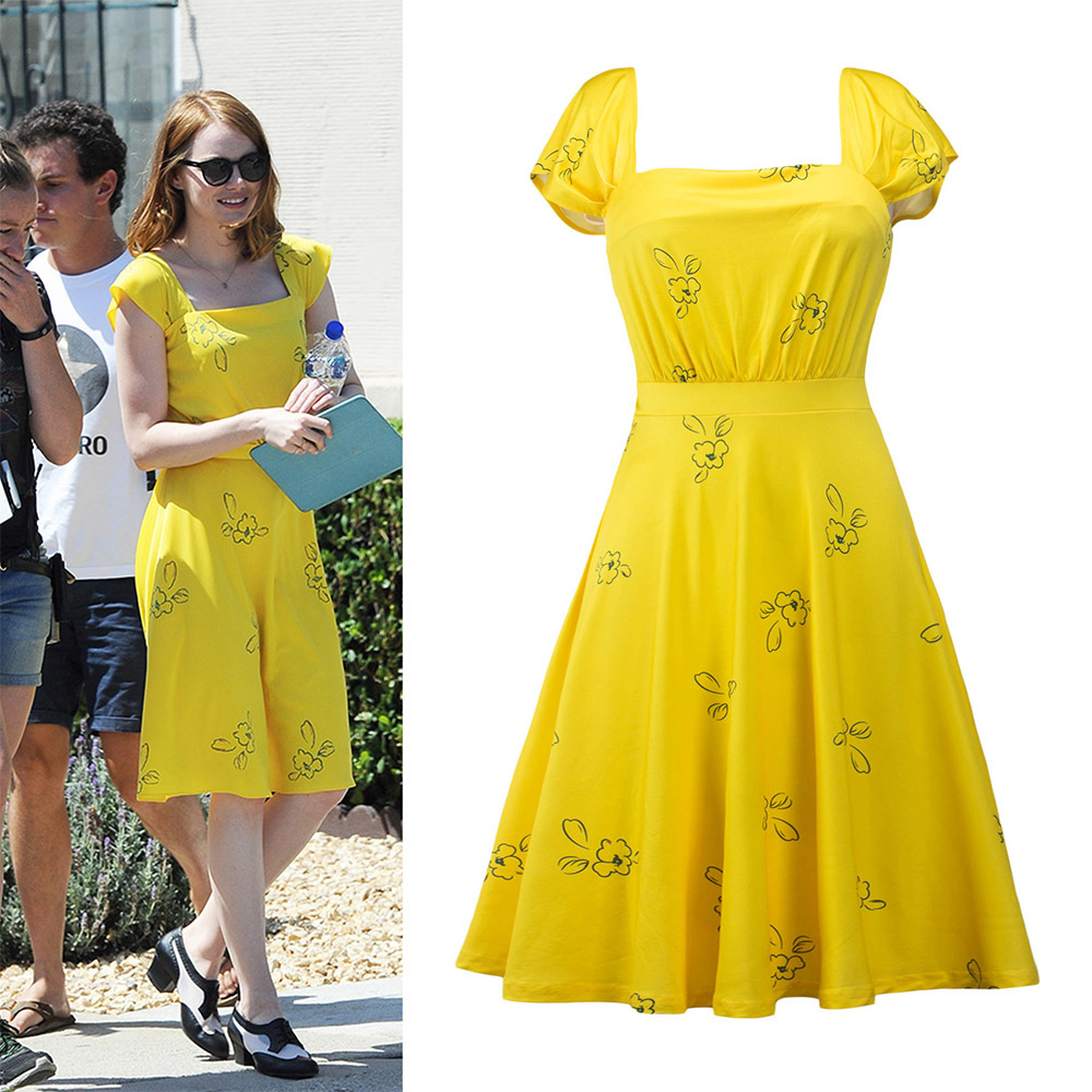 New La La Land Dress Mia Emma Cosplay Costume Stone Summer Yellow Floral Skater Dress Vestidos For Adults