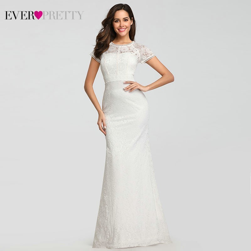 Ever-Pretty Lace Long Ever Cap Sleeve Wedding Dresses