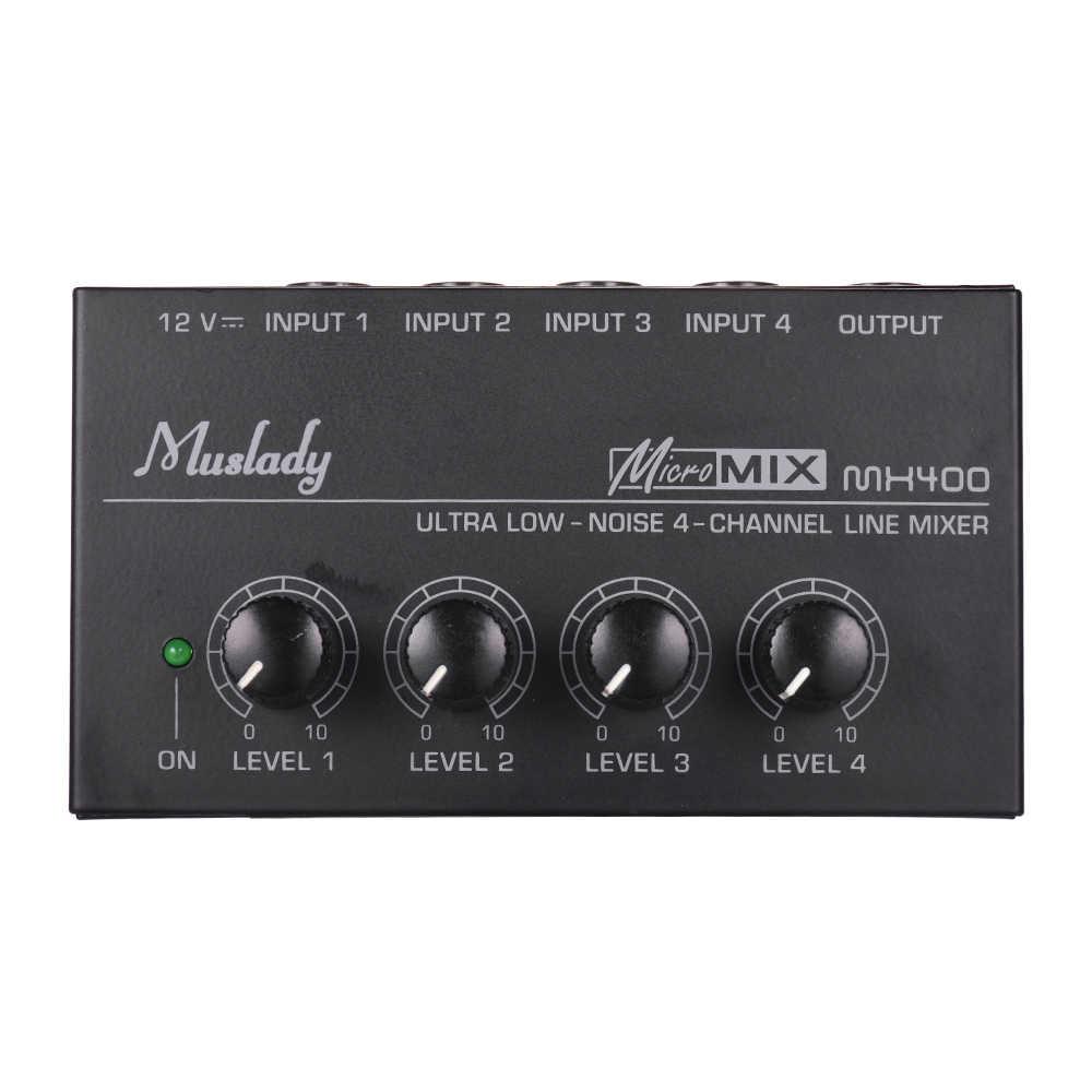 Muslady MX400 4 ערוצי מיקסר קומפקטי נמוך רעש קו מונו ערבוב קונסולת אודיו מיקסר עם כוח מתאם
