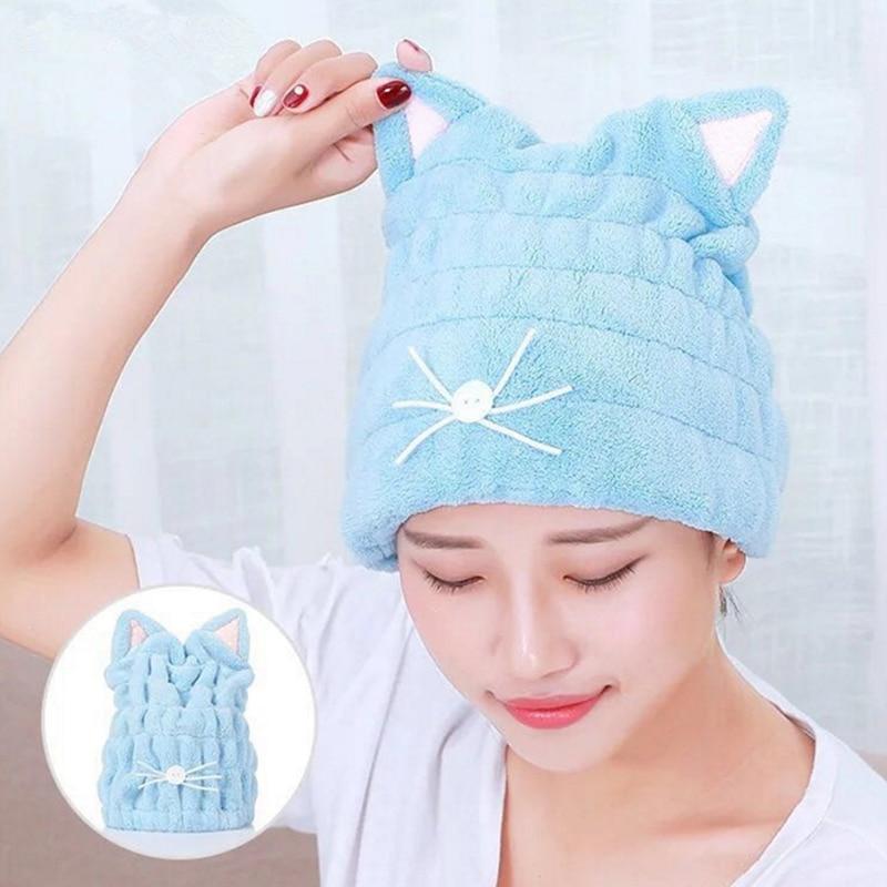 Cartoon Microfiber Hair Turban Quickly Dry Hair Hat Wrapped Towel Bathing Cap