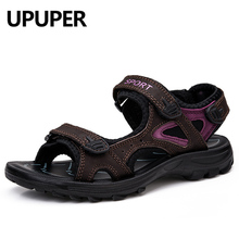 UPUPER 2019 Summer Outdoors Women's Sandals Comfortable Flat Genuine Leather Woman Shoes Summer Beach Shoes Large Size 35-41