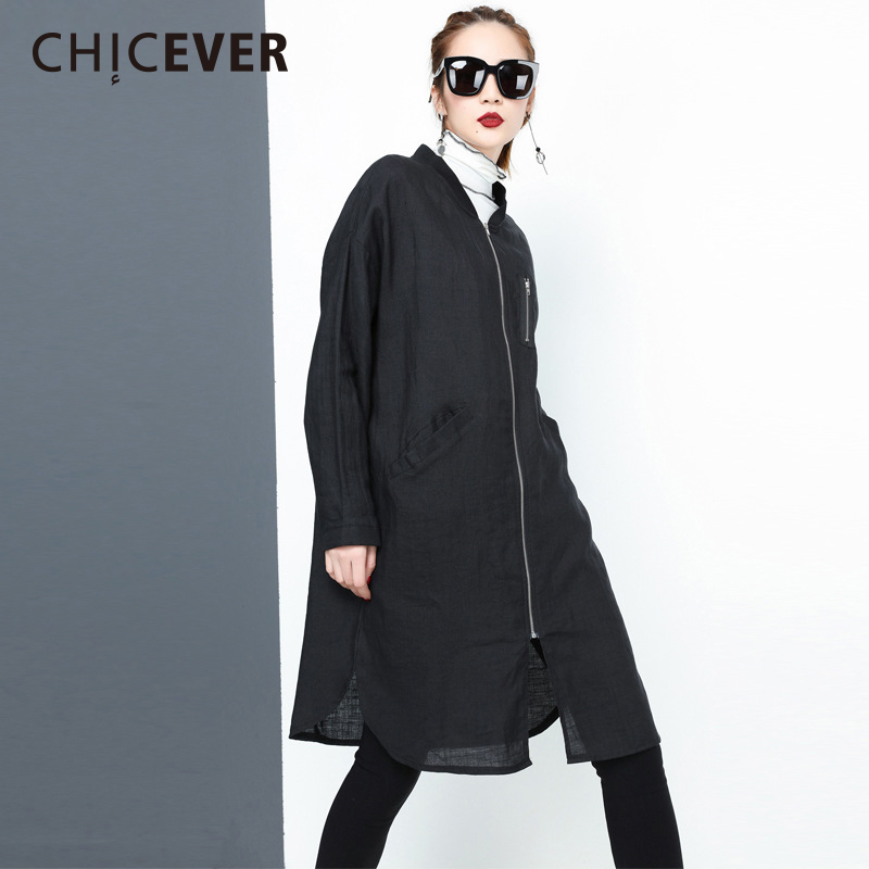 CHICEVER Spring Black   Trench   Coat Female For Women Windbreaker Back Letter Loose Big Size 2018 Women's Coats Clothes Fashion