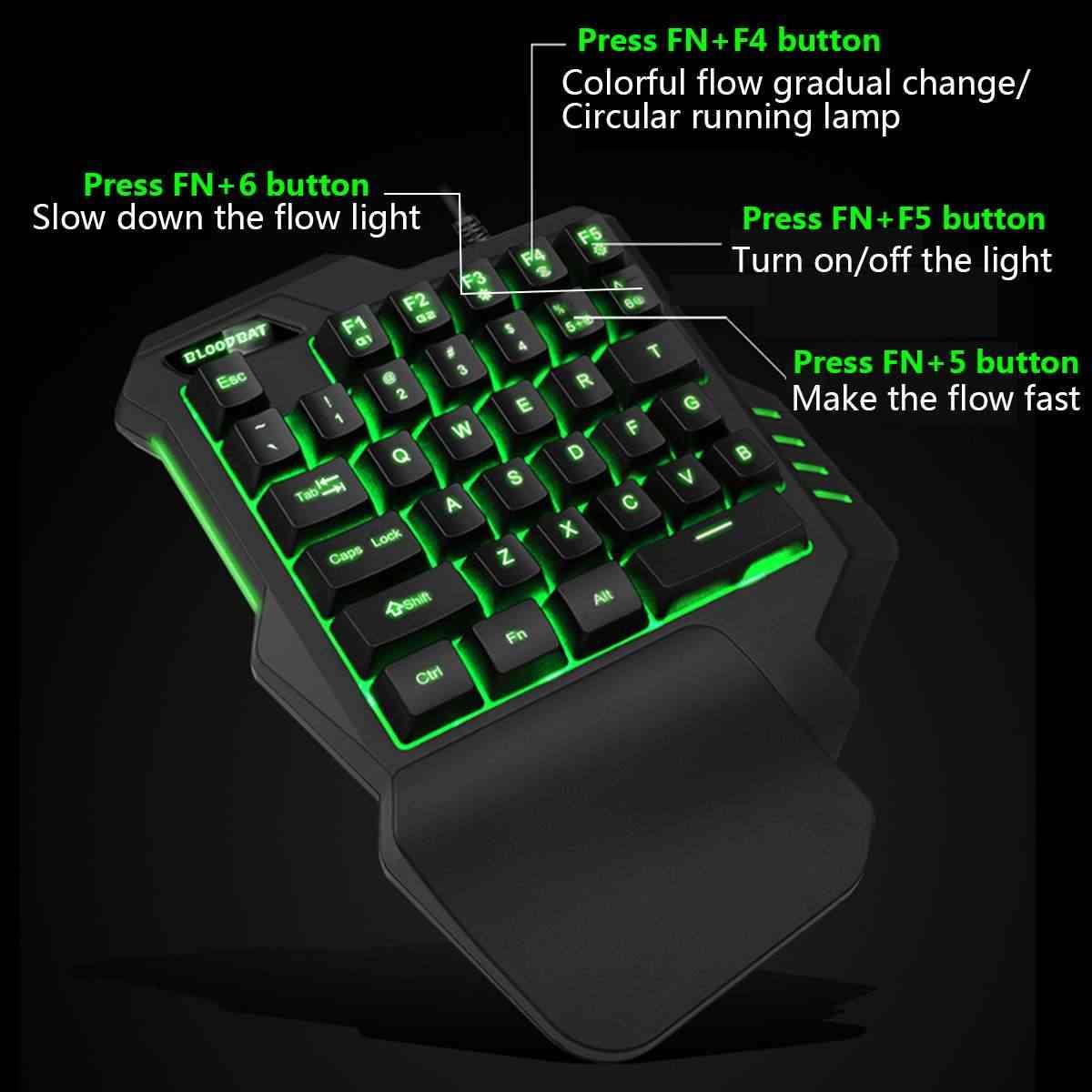 Мини клавиатура/мышь Проводная игровая механическая клавиатура с одной рукой клавиатура светодиодный подсветка для игры Fortnite Fortnited PC Keycaps