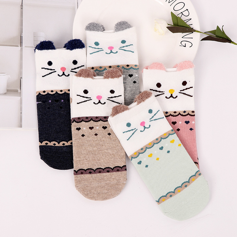 Fashion Cartoon Character Cute Short Socks Women Harajuku Cute Patterend Ankle Socks Hipster Funny Socks Female 1pair=2pcs Xg28