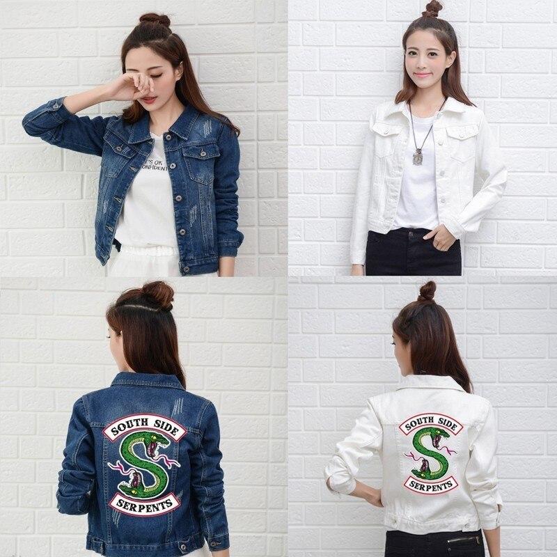 Riverdale New Denim Jacket South Side Serpents Streetwear Tops Spring Jeans Women Jacket Harajuku Fashion Denim Clothing Female cardigan
