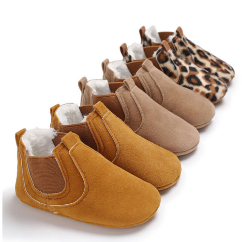 2019 Toddler Newborn Infant Crib Shoes Baby Boy Girl Leather Soft Sole Sneakers Prewalker Leopard Solid Warm First Walkers