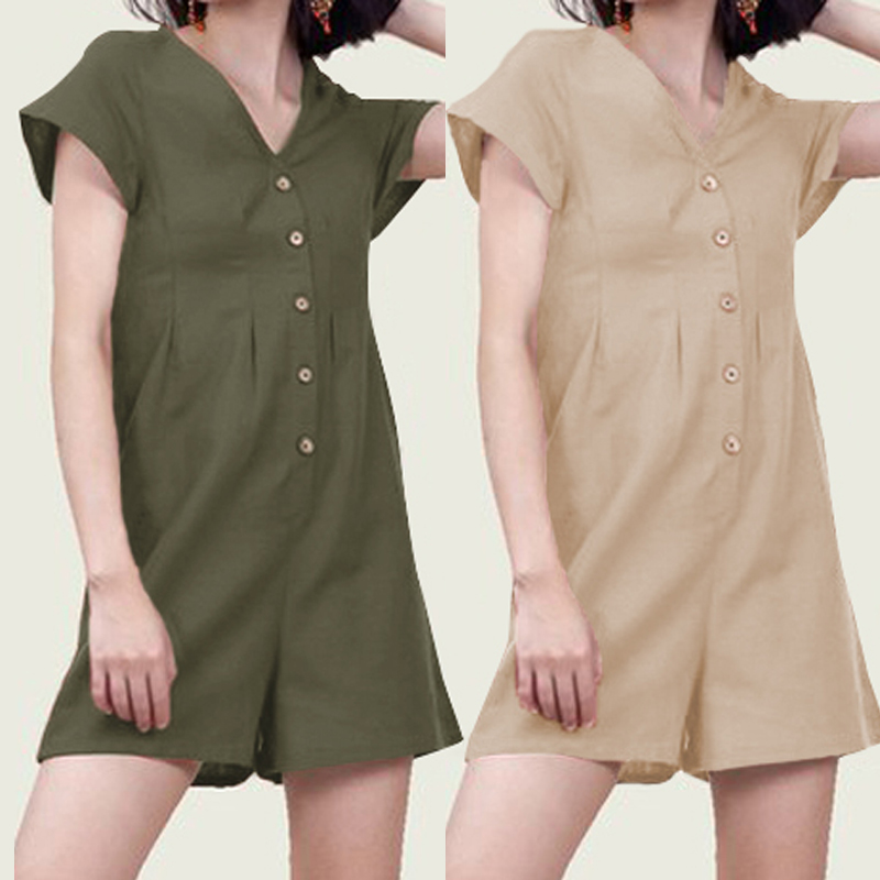 Celmia Sexy Rompers Women   Jumpsuits   2019 V Neck Short Sleeve Buttons Casual Bodysuits Ladies Summer Beach Overalls Plus Size 5XL