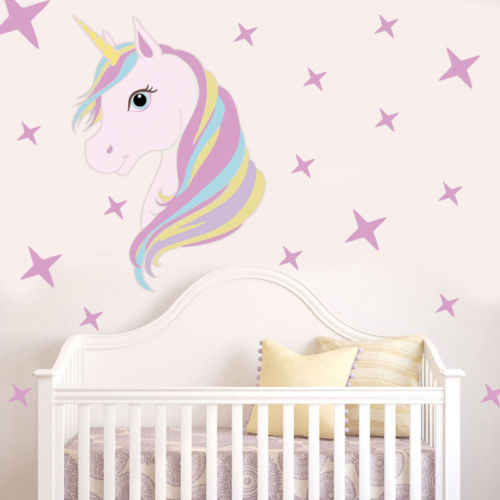 Cartoon Cute Unicorn Bling Stars Wall Decal Art Stickers Vinyl Kids Room Decors  DIY Home Wall Decals Sticker Nordic Style