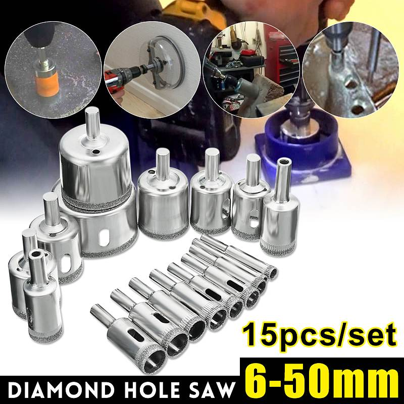 One Set In 15Pcs 6-50mm Diamond Hole Saw Drill Bit Set 100 Grits Tile Ceramic Glass Marble Drill Bits