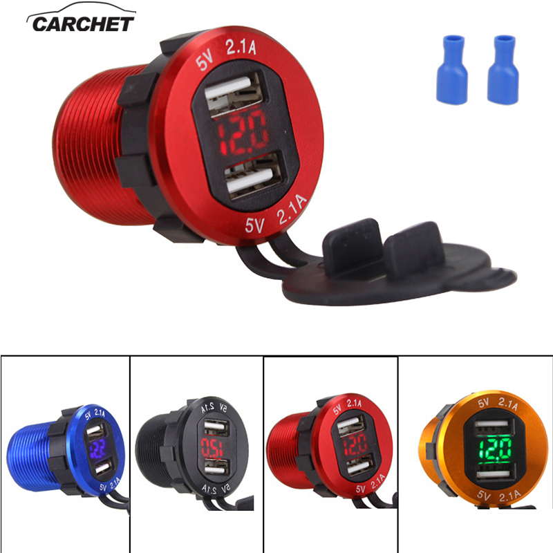 CARCHET 12-30V Car Charging Socket with LCD Voltage Display <font><b>Motor</b></font> Vehicle General <font><b>Charger</b></font> Dual <font><b>USB</b></font> Vehicle Charging Universal image