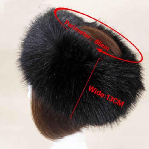 063cbf01fe1 ... 2019 Winter Thick Furry Hairband Fluffy Russian Faux Fur Women Girl Fur  Headband Hat Winter Outdoor