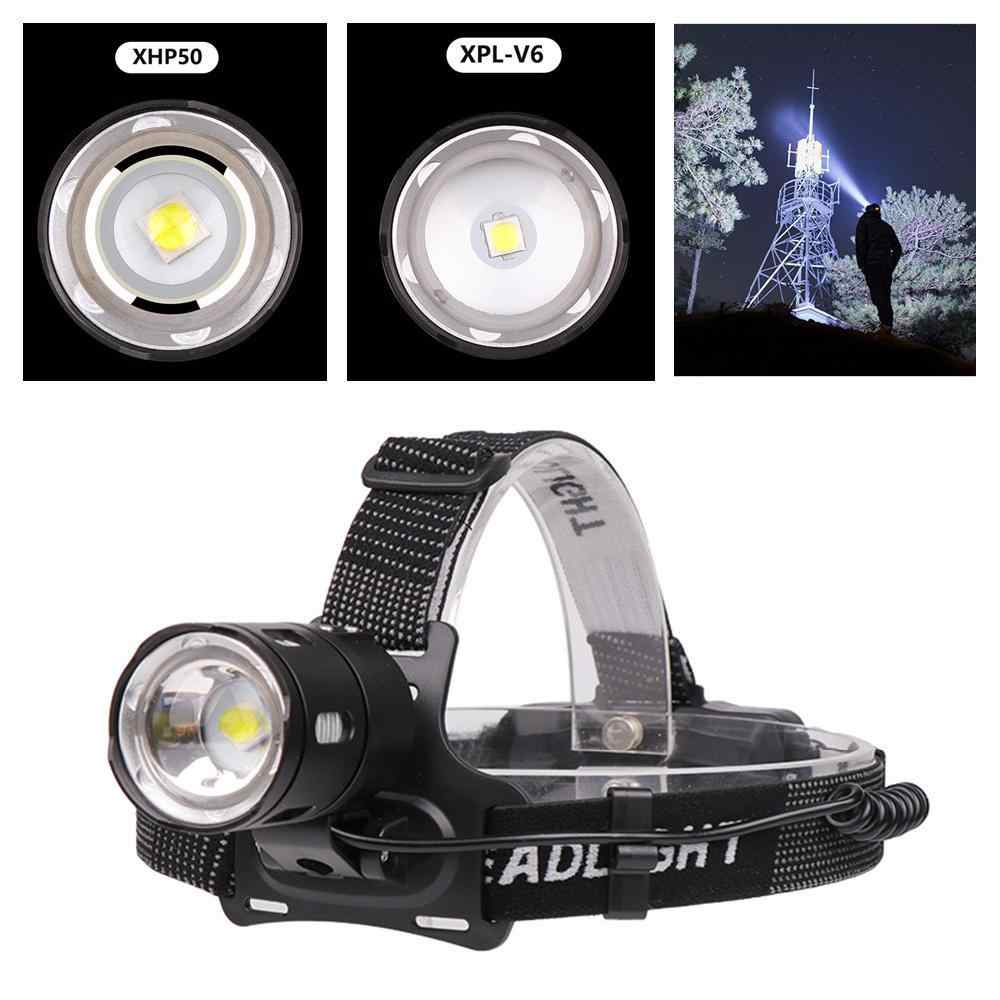 50000lumens High Power LED XPL-V6 Headlamp Torch XHP50 6500K White Light Headlamp USB Rechargeable Powerful led Head lamp Zoom