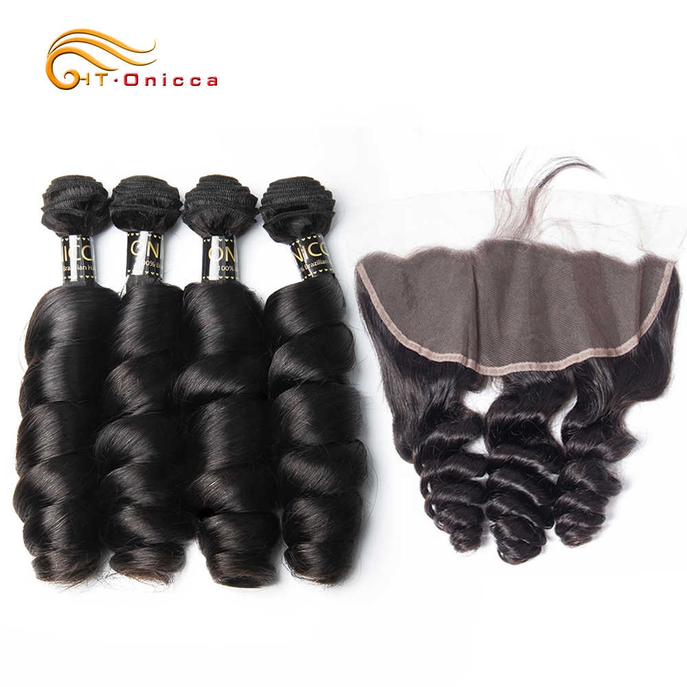 Peruvian Loose Wave Bundles With Frontal Ear To Ear Lace Frontal Closure With Bundles Remy Human Hair Bundles With Closure