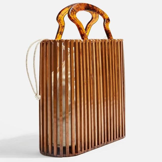 Fashion Women Bags Designer Acrylic Handle Woven Bag Bamboo Bag Stitching Hollow Bag Clutch Bali Beach Holiday Handbag 2