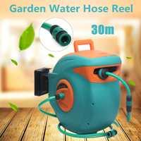 30M Auto Rewind Garden Water Hose Reel Retractable Reel Hose Storage Spray Tool Universal Car Washer Flexible Garden Air Hose