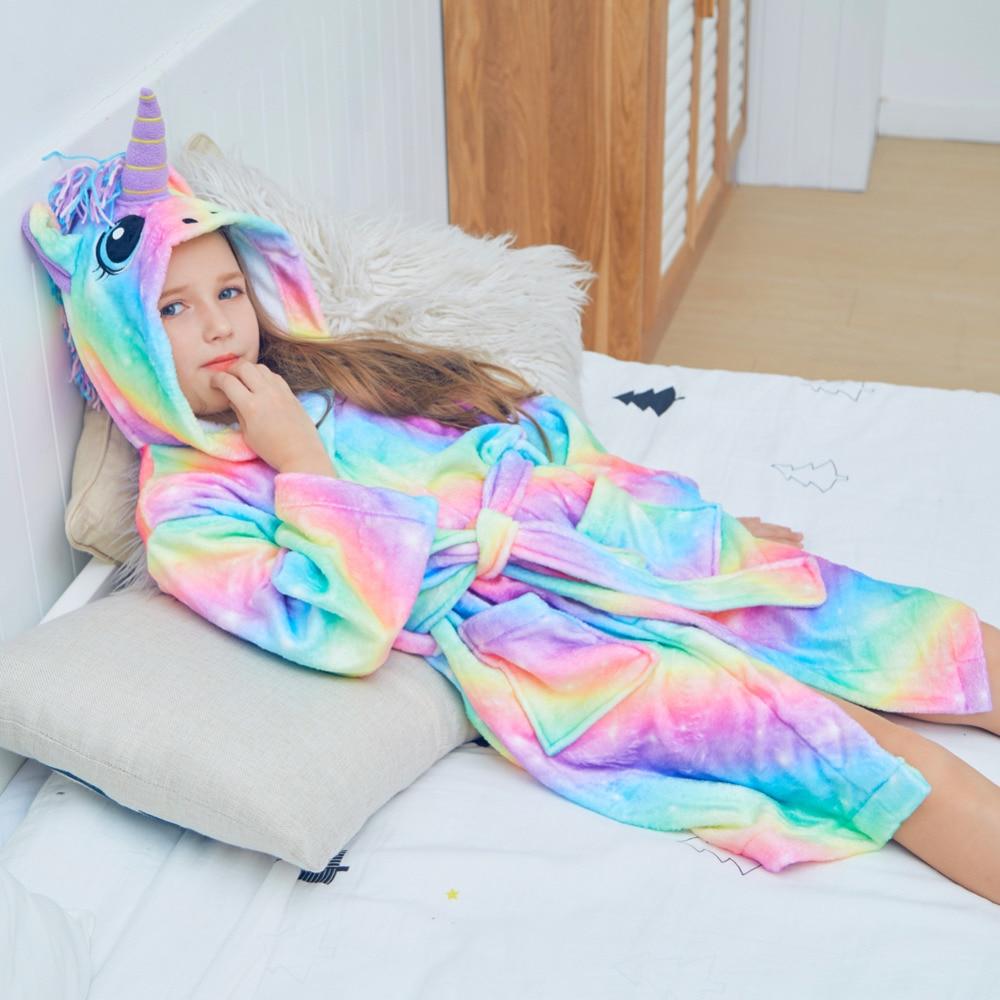 Autumn Winter Cute Rainbow Bathrobes For Girls Warm Sleepwear For Children Pajamas Unicorn Pattern Hooded Towel Rope For Boys