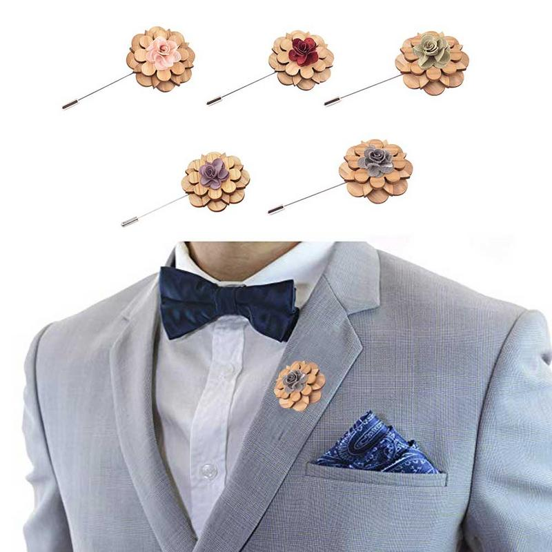 Apparel Sewing & Fabric Handmade Wooden Brooch High-end Retro Suit Clothing Mens Wedding Party Suit Corsage Wood Lapel Flower Wooden Brooch Quell Summer Thirst Arts,crafts & Sewing