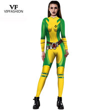 VIP FASHION 2019 New Plus Size 3D Green Rogue Captain Marvel Costume Cosplay Women Marvel Movie X-men Cosplay Costumes Jumpsuit(China)