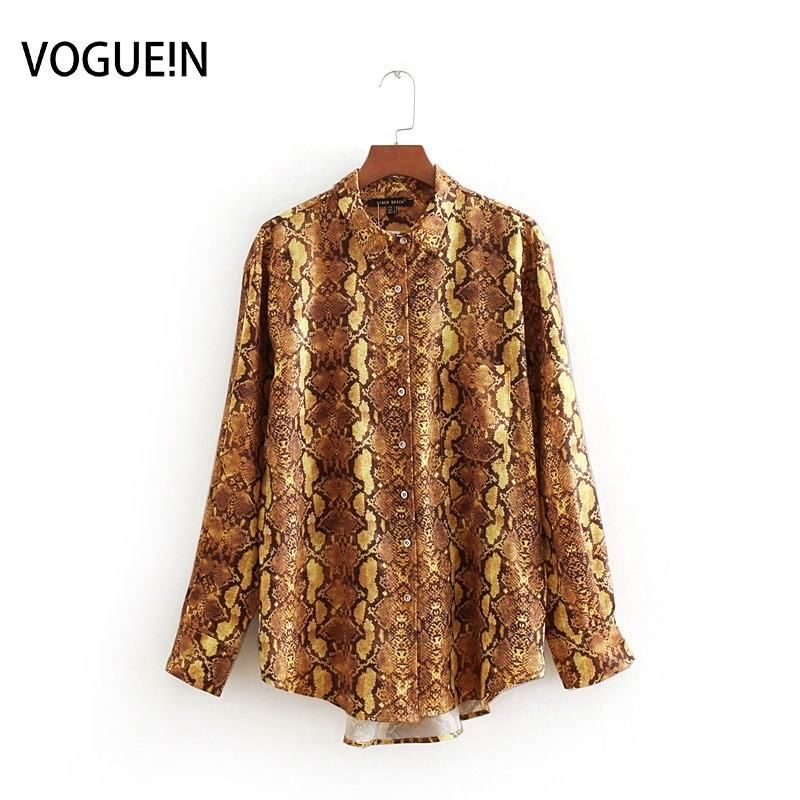 VOGUEIN New Womens Vintage Animal Snake Pattern Long Sleeve Blouse Top Shirt Wholesale