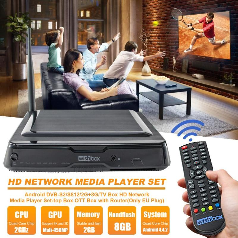 VODOOL DVB-S2 décodeur Android TV Box 2G + 8G Amlogic S812 Quad Core 2.4 GHz HD 4 K Combo décodeur lecteur multimédia de haute qualité