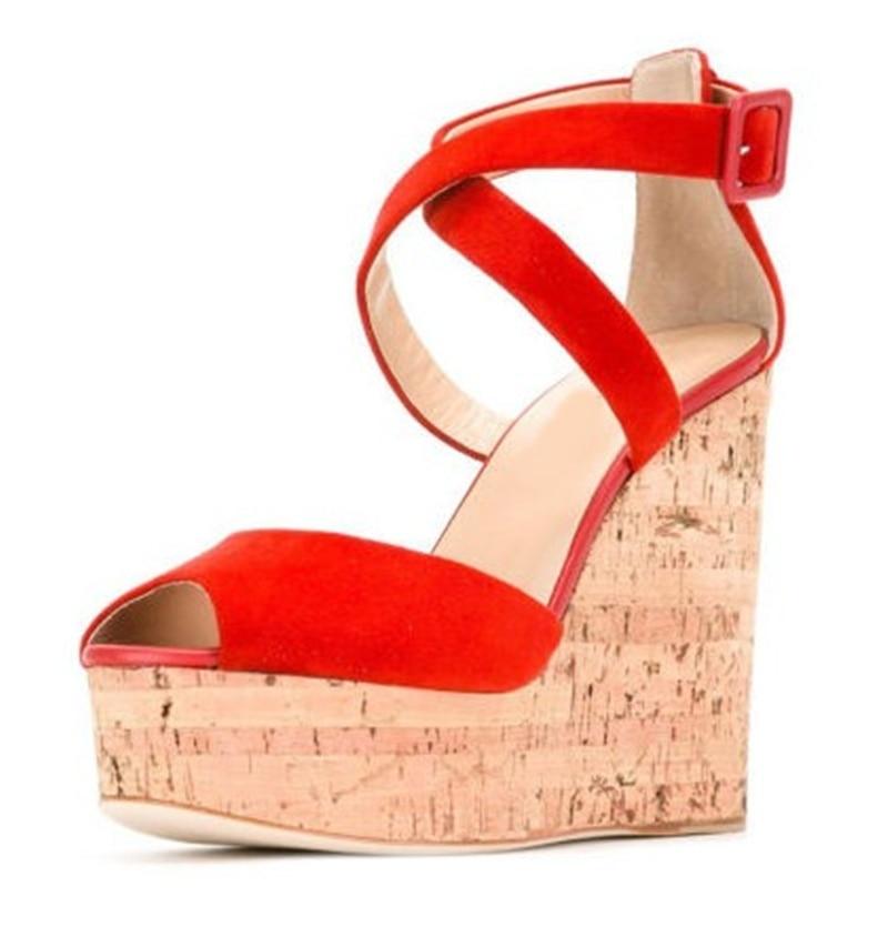 95dd4190 Sandalias Graduación Ultra Cruzada Altos Plataforma Abierta Mujer Zapatos  as Vestido Chic Cuñas Para Rojo Naranja Bombas ...