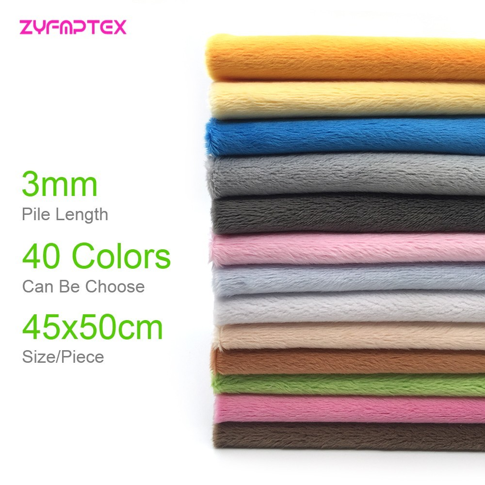 3mm Pile Length 45x50cm Soft Short Plush Handwork DIY Doll Winter Clothes Thickness Antipilling Plush Fabric 40 colors