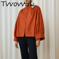 TVVOVVIN 2019 New Spring Women Clothing Turn down Collar Full Sleeves Loose Shirt Female Vacation Blouse R042