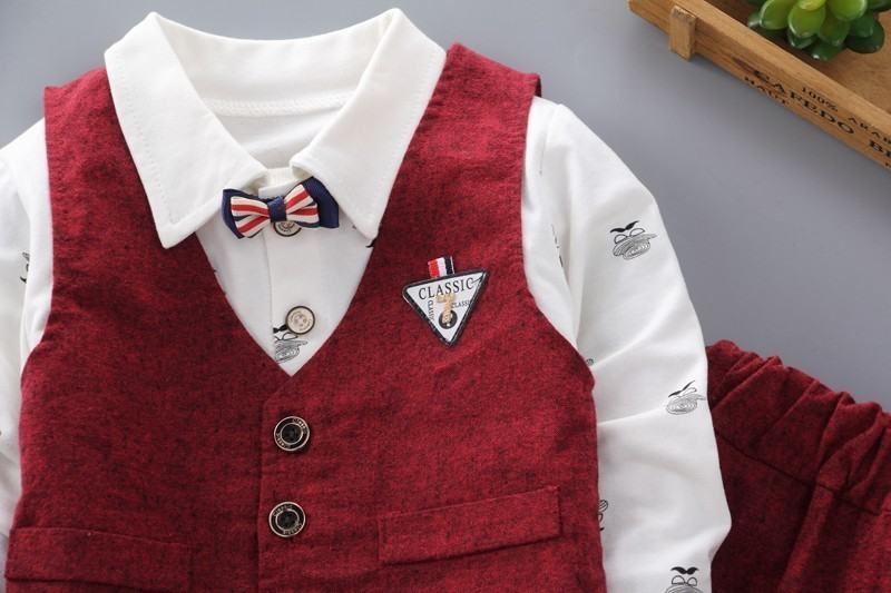 Children Boys Girls Clothing Sets Spring Autumn Baby Cotton Vest Shirt Pants 3pcs Sets Infant Gentleman Bow Tie Casual Suits in Clothing Sets from Mother Kids