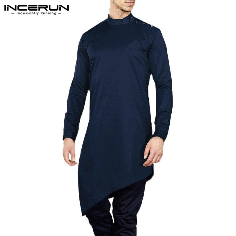 INCERUN 2018 Mens Shirts Long Sleeve Male Dress Loose Shirts Kaftan Kurta Muslim Clothing Autumn Camisas Hombre Masculina