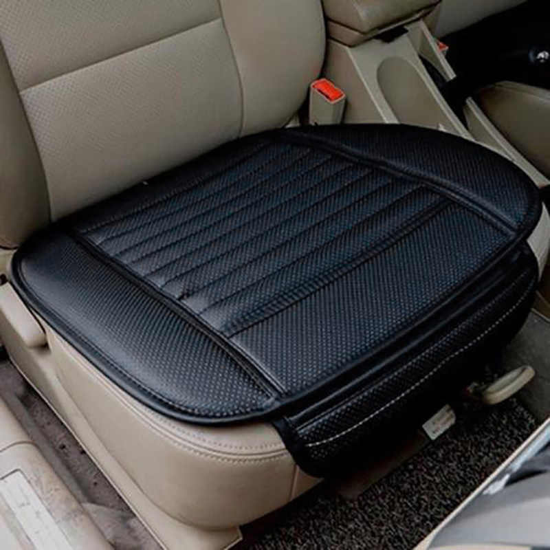 1pc black Car Front Seat Protect Mat Cover Pad Breathable Chair Cushion Faux Leather Universal size for most Five Seat cars