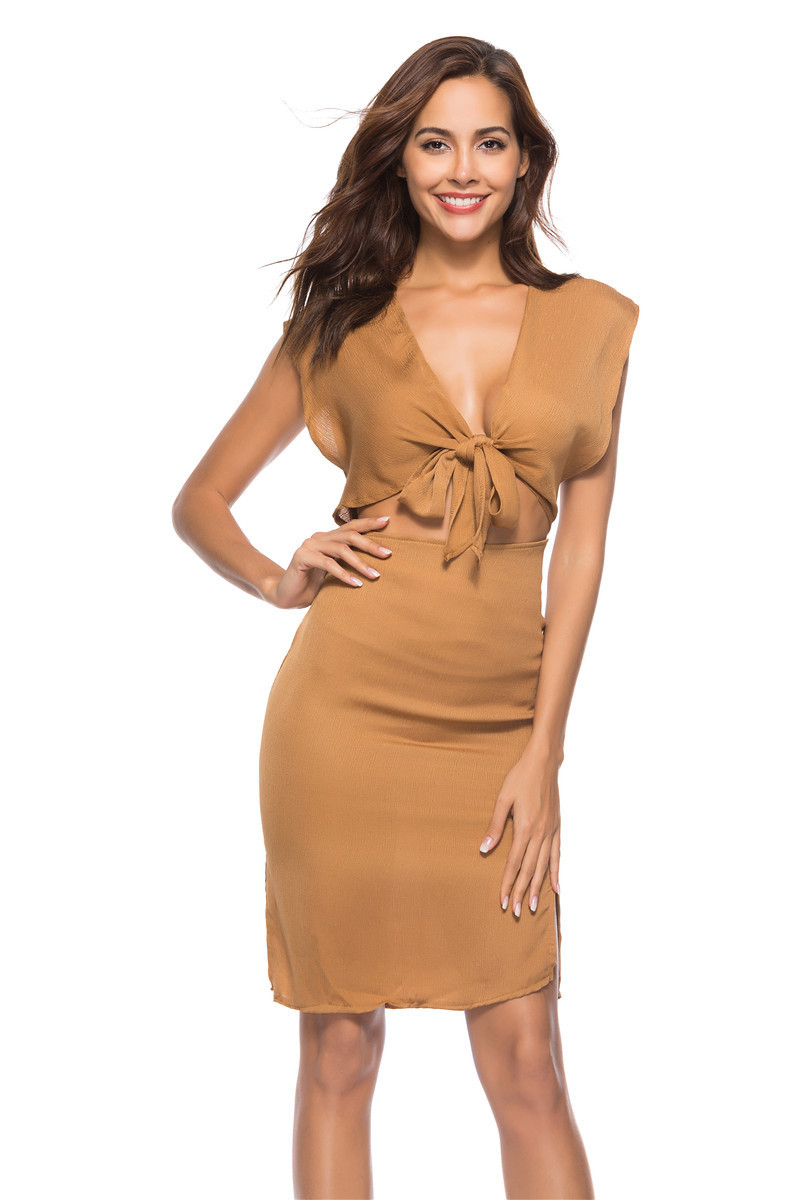 Bandage Bow Dress Belly Uncovered Sexy Summer Dress Women Knot Mini Dress Sleeveless Bodycon Club Party Tank V-Neck