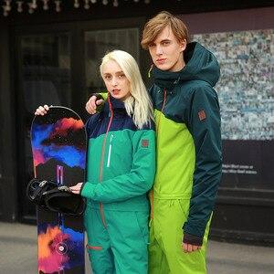 Image 4 - 実行している川ブランド防水ジャケット男性のためのスノーボードスーツ女性スノーボードジャケット男性スノーボードセット服 # B8095