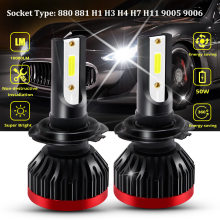 2pcs H7 LED Car Headlight Bulbs Mini H1 H3 H4 50W/Bulb H8 H11 880 881 9005 9006 IP67 COB Chip Auto Headlamp Fog Lamp